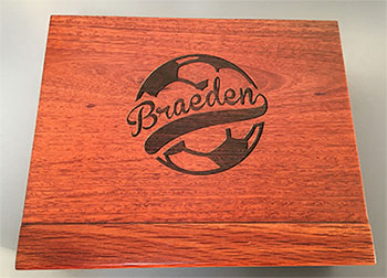 Laser Engraved Wood Jarrah Box